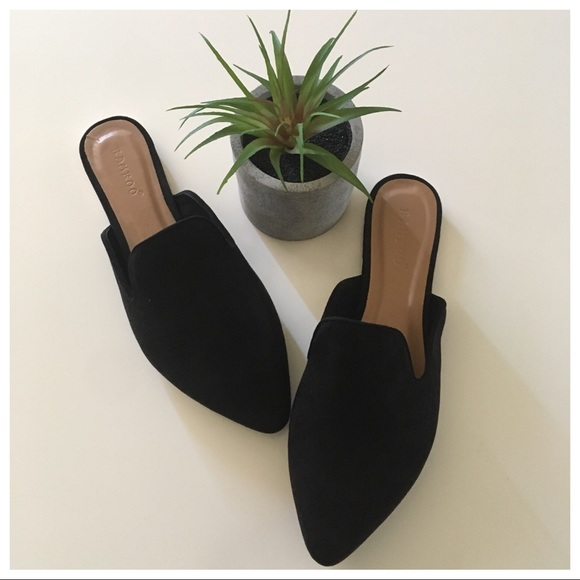 Bamboo Black Faux Suede Loafer Mules